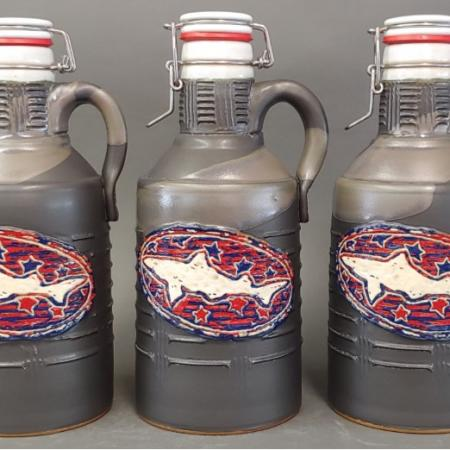 Stoneware Growler 64oz Stars and Stripes design