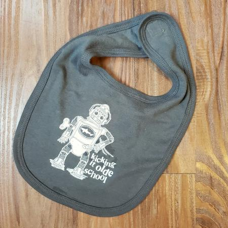 Charcoal Baby Bib with Robot design