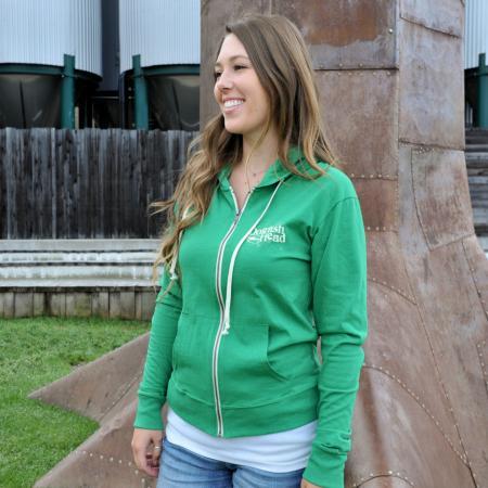 Women's Green Zip Hoodie 1