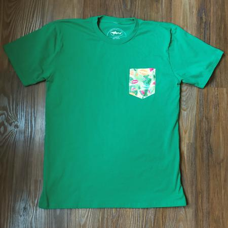 Green Printed Pocket Tee