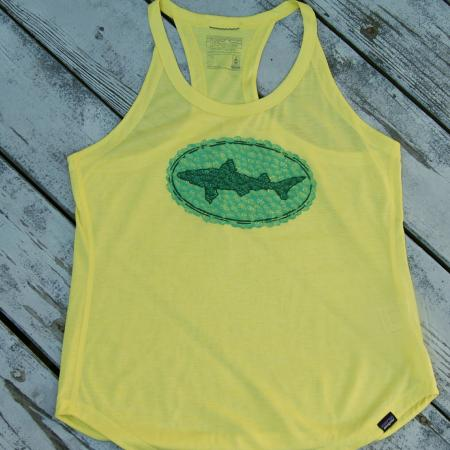 Patagonia Yellow Tank Top with Dogfish Head design