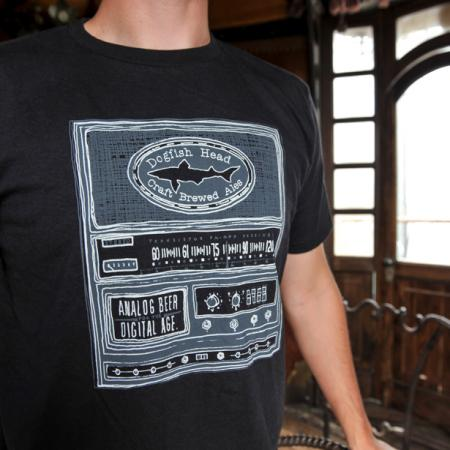 Mens Black Analog Radio Tee