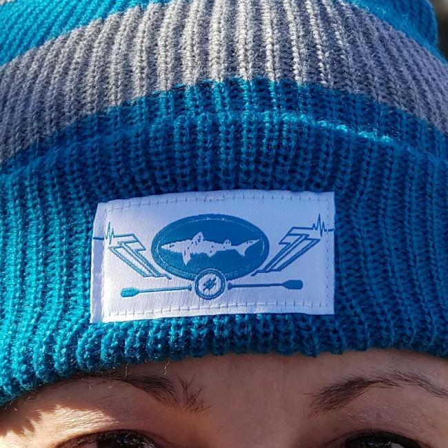Slightly Mighty Rugby Stripe Beanie Woven label close-up