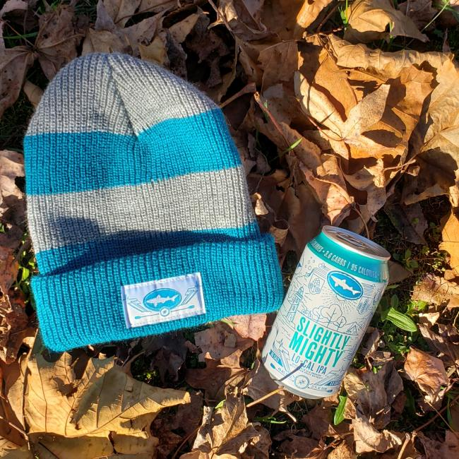 Slightly Mighty Rugby Stripe Beanie. Sorry, beer not included.