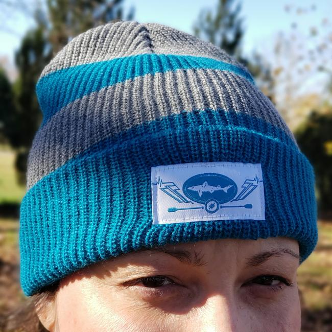 Slightly Mighty Rugby Stripe Beanie Teal and Grey