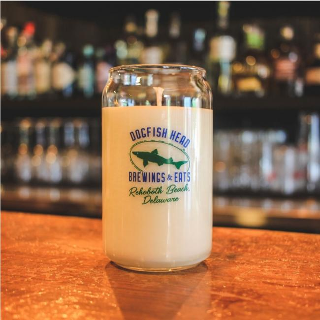 Grapefruit Soy Candle Rehoboth Beach Dogfish Logo