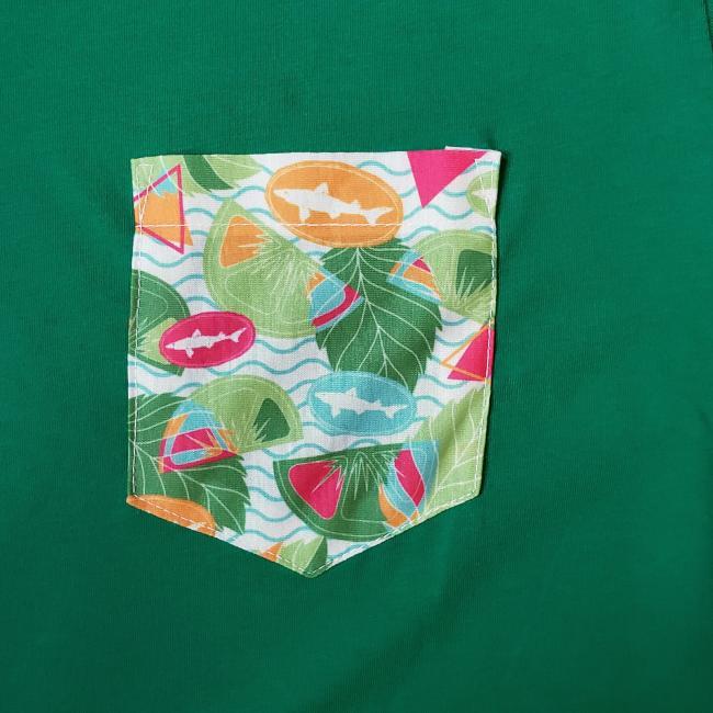 Green Printed Pocket Tee
