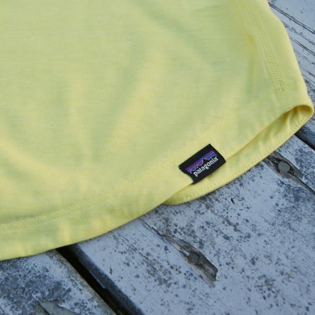 Patagonia Yellow Tank Top close up of Patagonia label